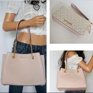 Michael Kors Tote Bag Pink + Wristlet Set Vanilla
